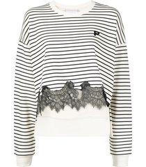 philosophy di lorenzo serafini lace-hem striped sweatshirt - neutrals