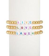 eye candy la women's the luxe live love laugh 18k goldplated alphabet bead bracelet