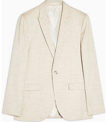 mens stone super skinny fit suit blazer with peak lapels
