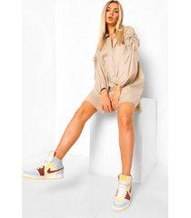 oversized blouse jurk met geplooide shoulders, sand