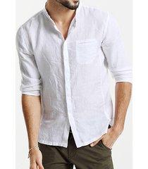 hombres cuello alto liso algodón casual camisa