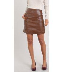 saia feminina curta com bolsos e zíper de argola marrom