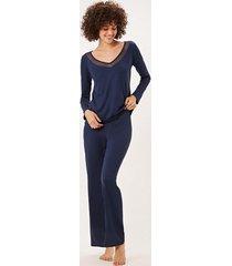 pijama joge longo azul marinho - azul marinho - feminino - dafiti
