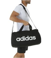 mala adidas linear core duffel bag m - preto/branco