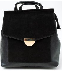 perry suede front flap backpack - black
