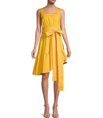 asymmetrical tie-waist cotton sundress