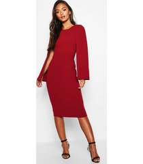 petite cape sleeve midi dress, berry