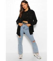 corduroy spijkerblouse met zakken, black