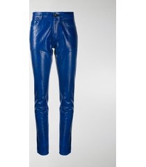 saint laurent skinny patent style trousers