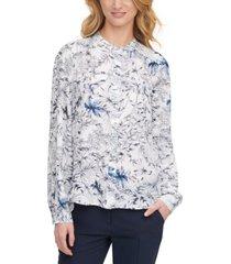tommy hilfiger floral mandarin-collar blouse