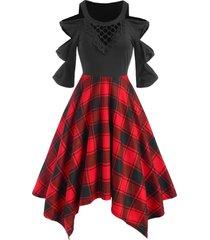 crochet panel knots cold shoulder checked handkerchief dress