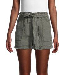splendid women's bungalow belted linen shorts - khaki - size l