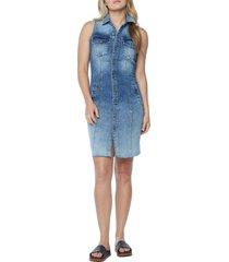 wash lab denim sleeveless denim dress, size x-large in city blue at nordstrom