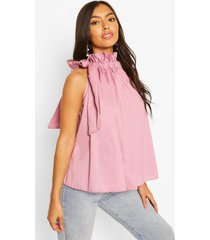 high neck tie detail sleeveless top, mauve