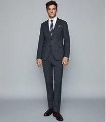 reiss blunt - wool blend slim fit blazer in indigo, mens, size 48