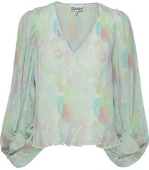 pleated georgette blouse lange mouwen multi/patroon ganni