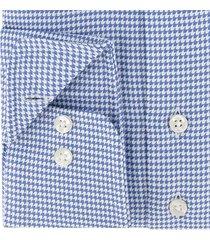 sleeve7 heren overhemd blauw pied de poule modern fit