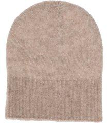agnona ribbed knit beanie - neutrals