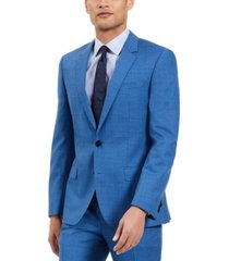 hugo hugo boss men's slim-fit blue/black check suit jacket, created for macy's