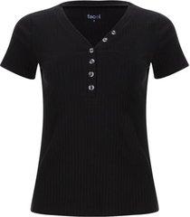 camiseta escote en v con botones color negro, talla 10