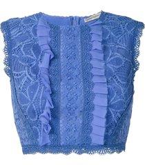 martha medeiros top cropped ariella rendado - azul