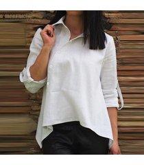 zanzea blusa de manga larga para mujer top asimétrica ropa de trabajo de oficina camisa con botones -blanco