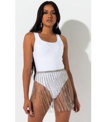 akira luxy lust rhinestone fringe skirt