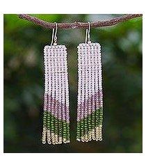 beaded waterfall dangle earrings, 'modern waterfall in green' (thailand)