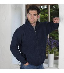mens lined shetland zipper cardigan navy medium
