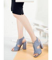 elegante cremallera abierta diseño chunky sandalias