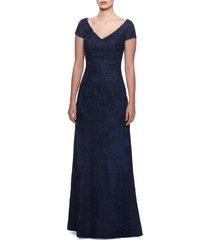 women's la femme embellished lace gown, size 12 - blue