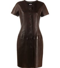 chanel pre-owned 1999 leather shift dress - brown