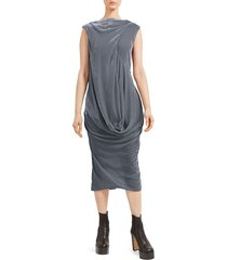 rick owens women's ellipse velvet midi dress - blue - size 46 (10)