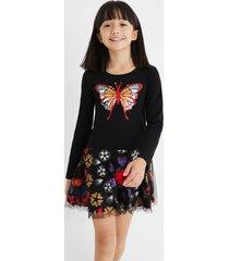 cotton dress tulle skirt - black - 7/8