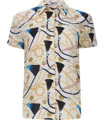 camisa m/c cadenas color blanco, talla 10
