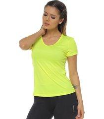 camiseta básica,  color amarillo lima  para mujer