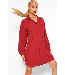 geweven blouse jurk met contrasterende middel, rose