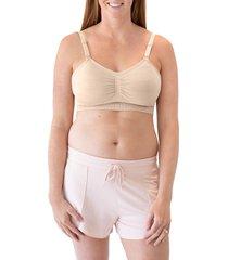 kindred bravely sublime hands-free pumping/nursing wireless bra, size medium in beige at nordstrom