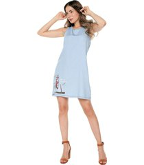 vestido sin manga casual color indigo natural basic