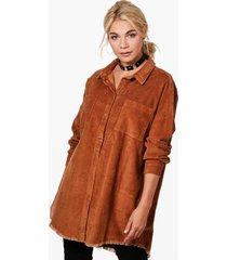 oversized corduroy blouse met onbewerkte zoom, kameel