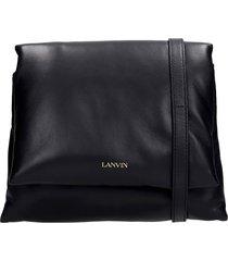 lanvin sugar shoulder bag in black leather