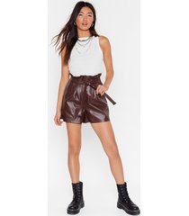 womens faux leather paperbag shorts with tie belt - chocolate