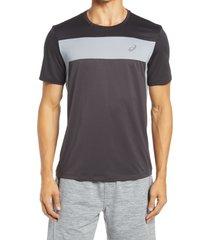 asics(r) racing t-shirt, size medium in graphite grey/black at nordstrom