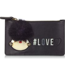 love moschino designer wallets, black eco leather credit card holder w/zip