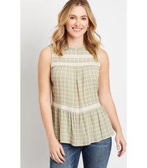 maurices womens green plaid crochet trim babydoll tank top