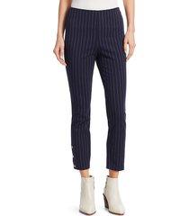 rag & bone women's simone pinstripe snap-cuff pants - ivory black - size 12