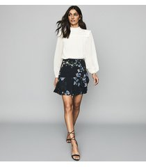 reiss helen - floral printed mini skirt in navy, womens, size 12