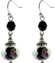 2028 silver-tone black floral bead drop earring