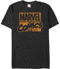 marvel men's comics distressed orange logo short sleeve t-shirt