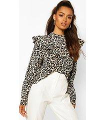 leopard print ruffle detail open back blouse, black